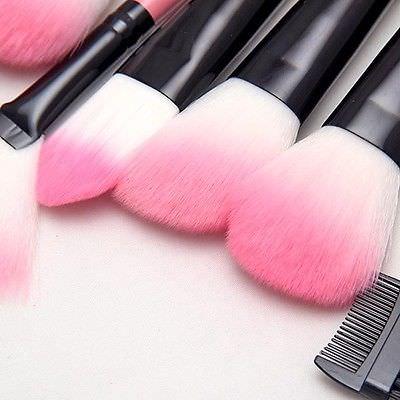 Ružový makeup štetec, jemné štetiny, sada ružových štetcov