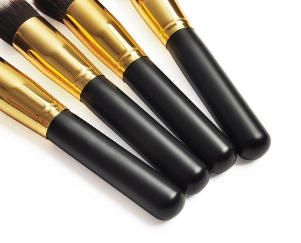 Zlaté kabuki štetce, čierna plastová rúčka